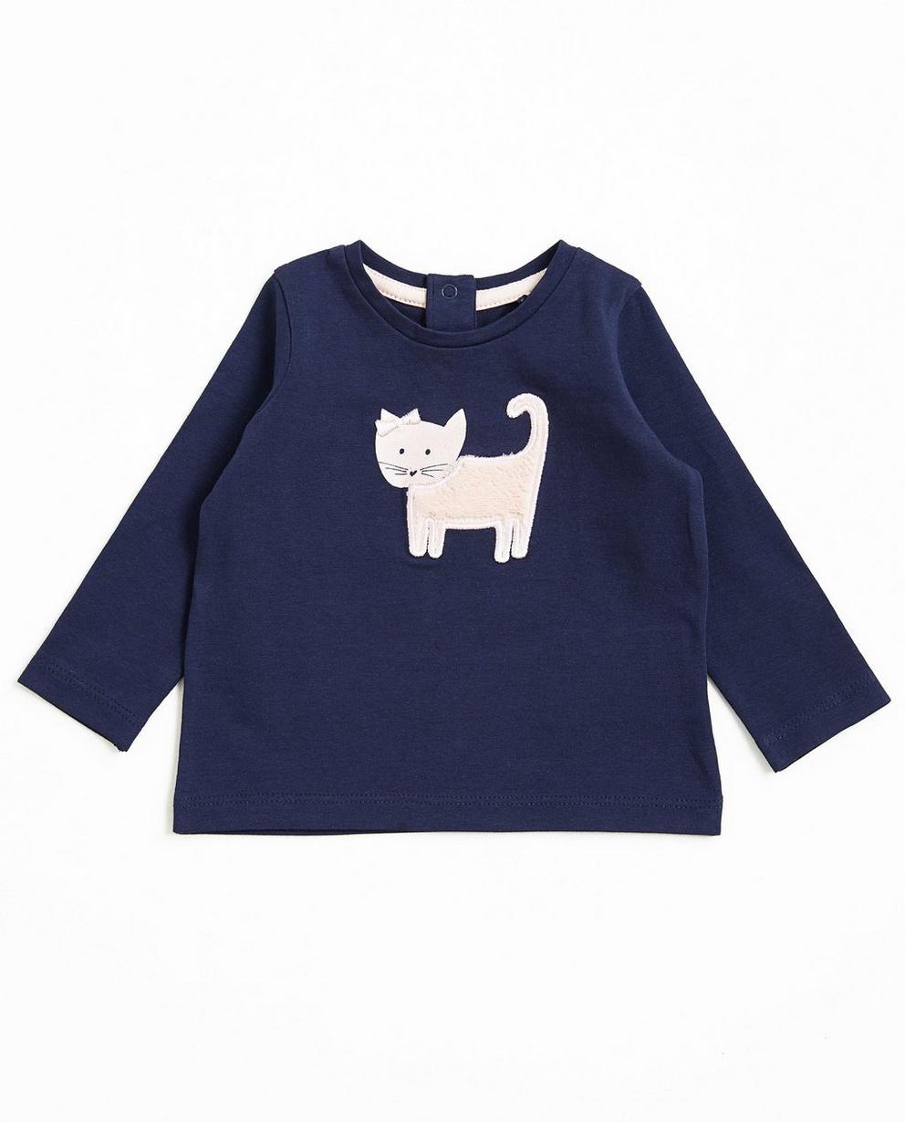 T-shirt à manches longues - petit chat, bleu marine - Newborn